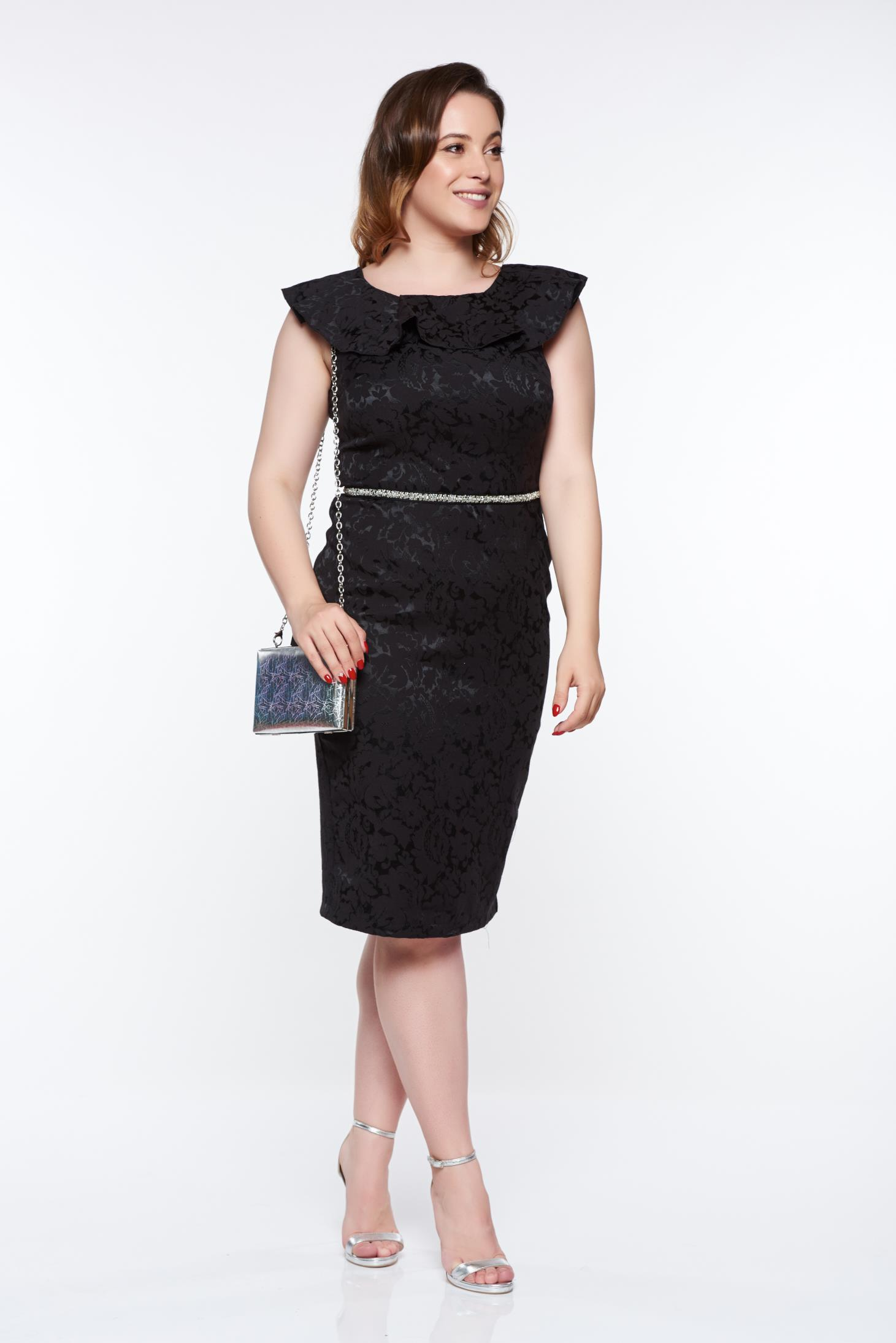 Rochie StarShinerS neagra eleganta tip creion din stofa cu spatele decupat cu volanase