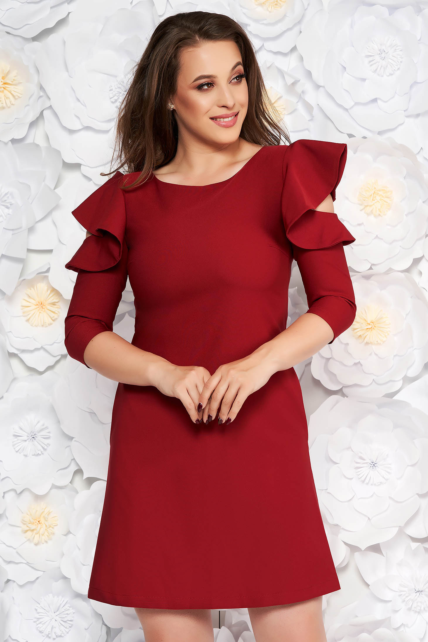 Burgundy daily elegant a-line dress slightly elastic fabric with ruffled sleeves