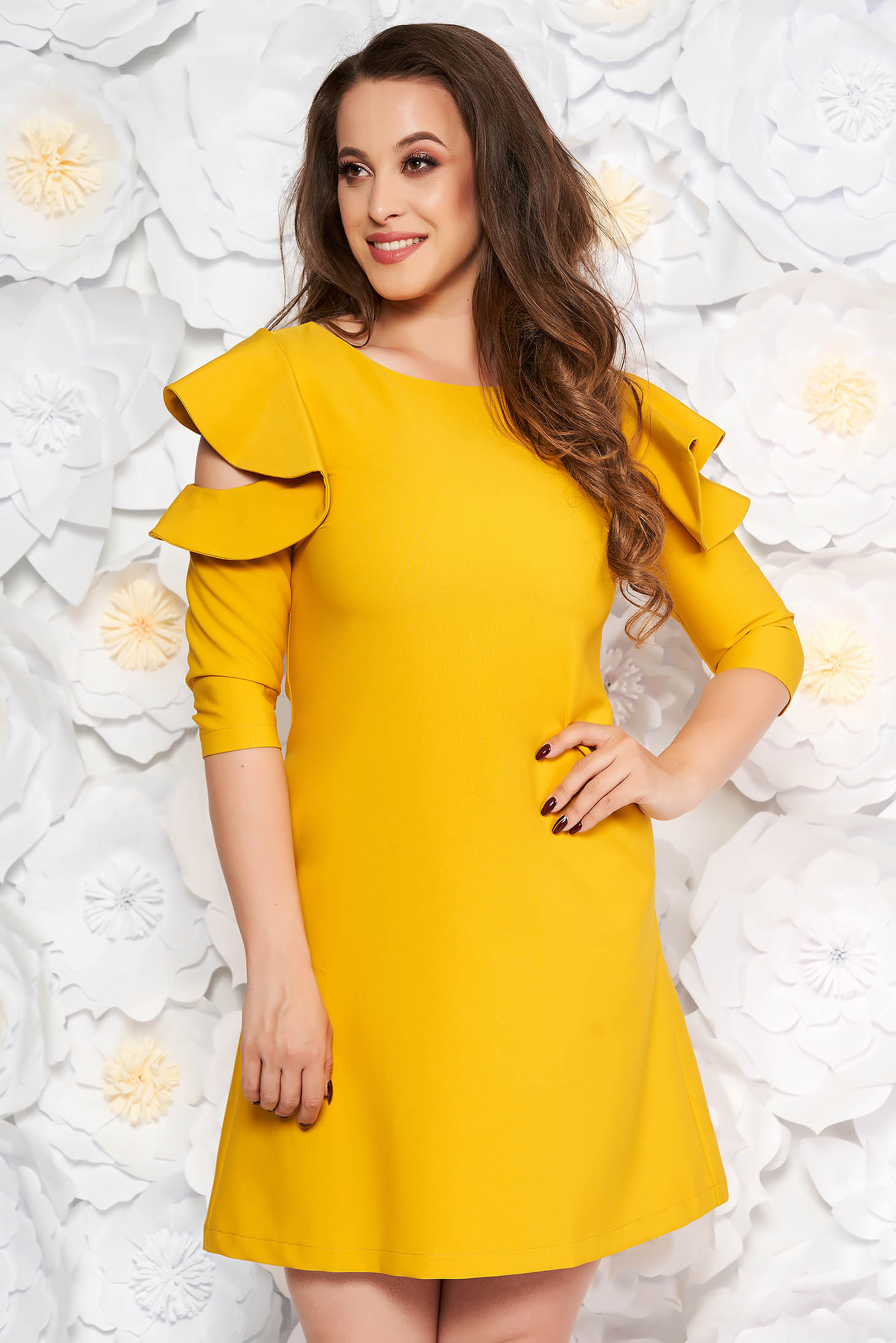 Mustard daily elegant a-line dress slightly elastic fabric with ruffled sleeves