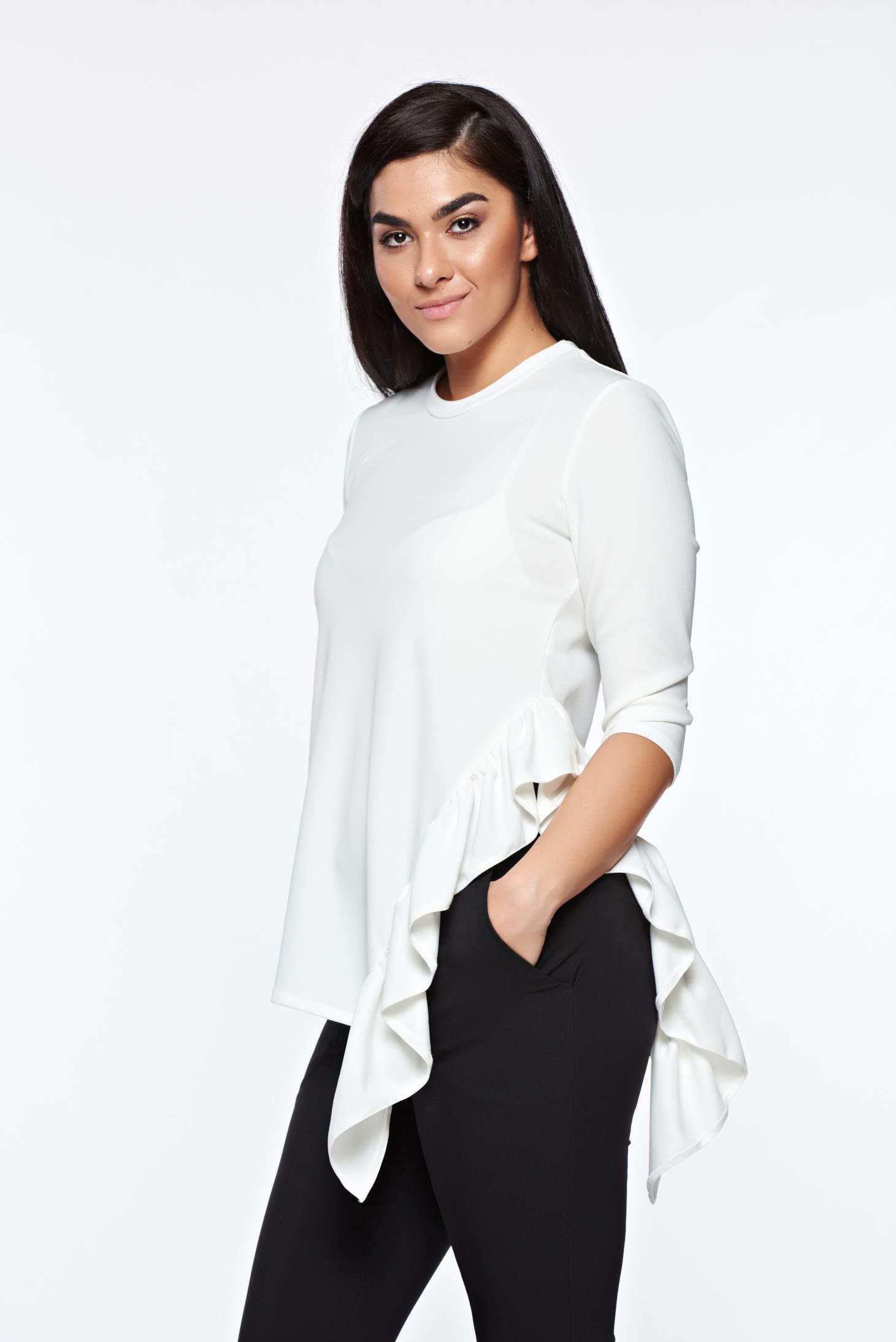 Bluza dama StarShinerS alba office asimetrica din material elastic cu volanase