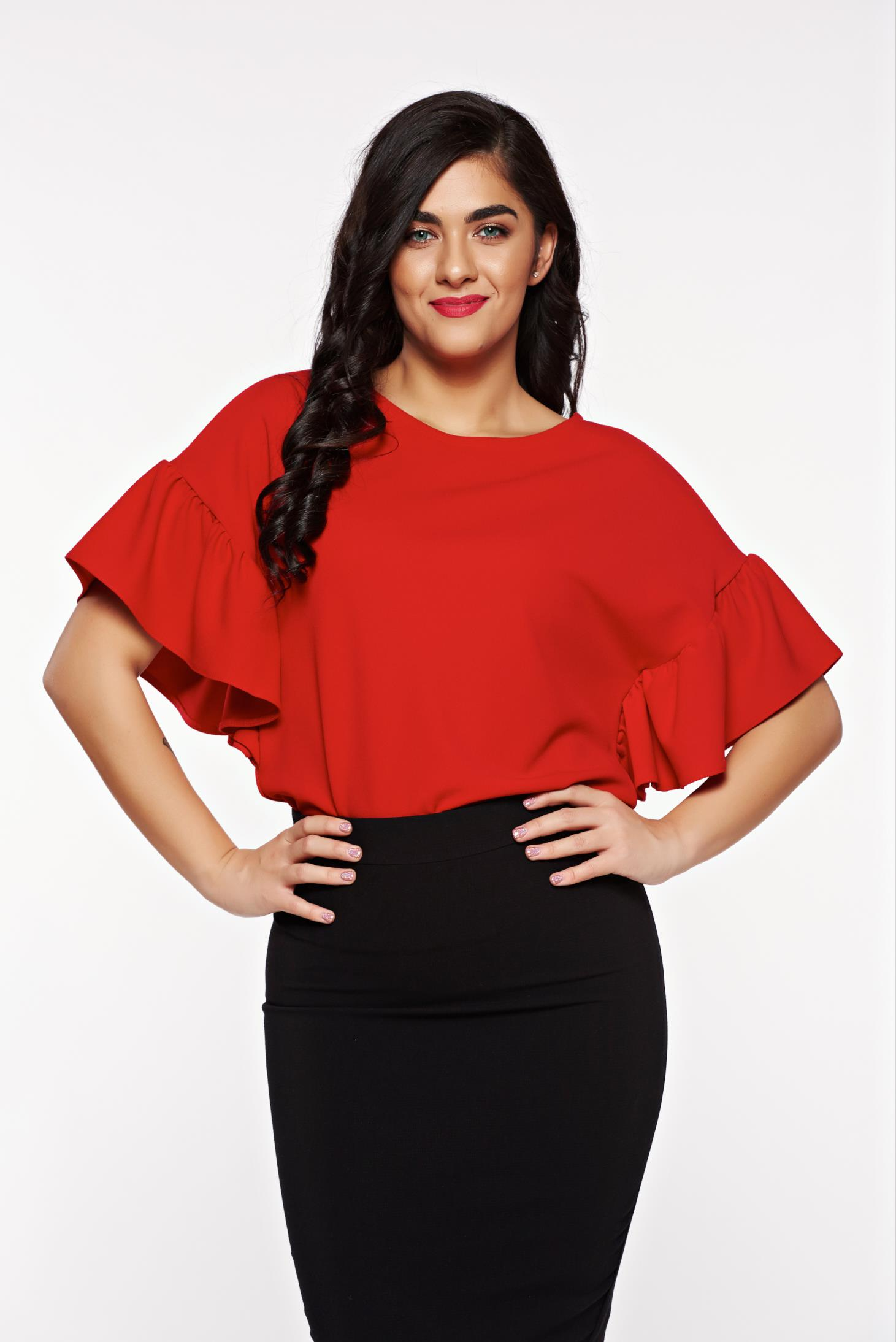 StarShinerS red women`s blouse office flared slightly elastic fabric with wrinkled sleeves