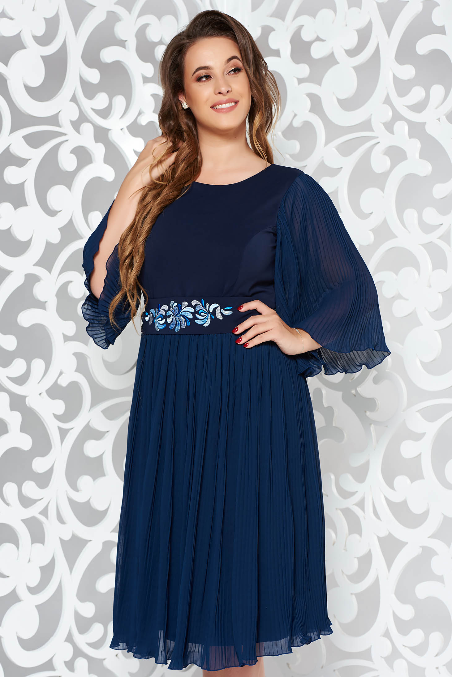 StarShinerS darkblue occasional embroidered dress from veil fabric folded up accessorized with tied waistband