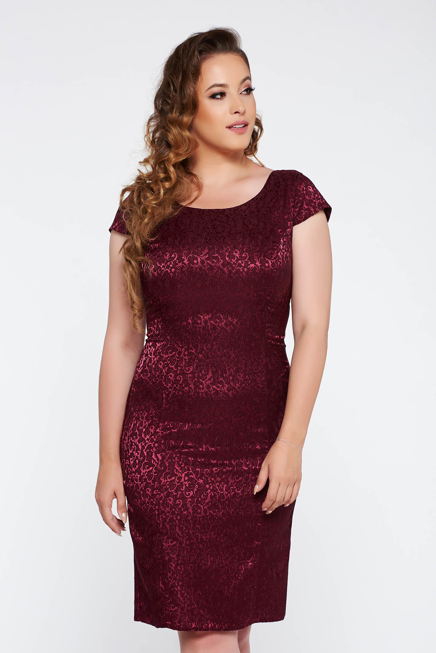 Burgundy elegant pencil dress from jacquard short sleeves