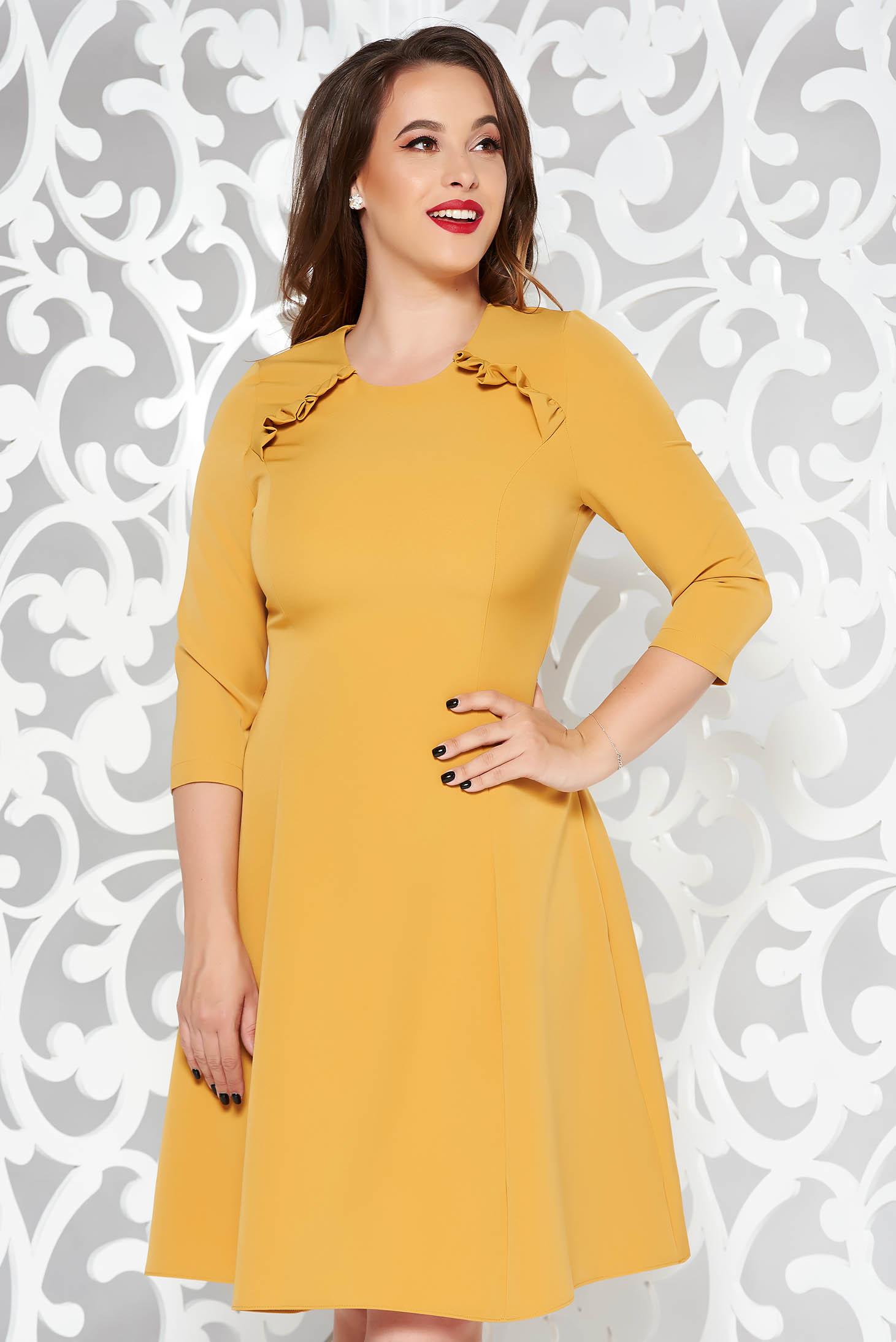StarShinerS mustard office midi cloche dress slightly elastic fabric with ruffle details