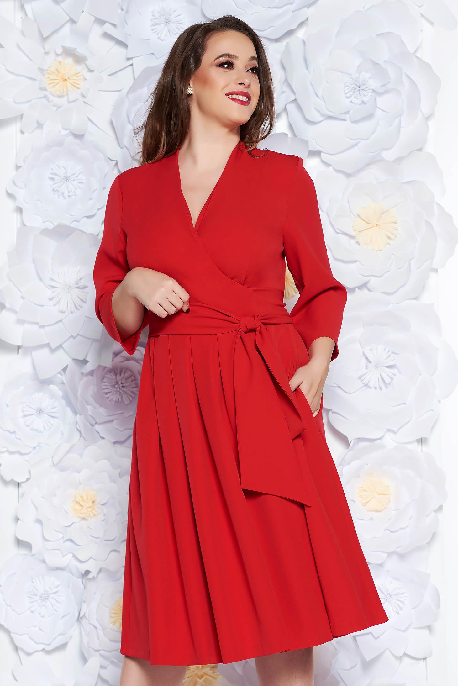 Red elegant cloche dress nonelastic cotton with v-neckline