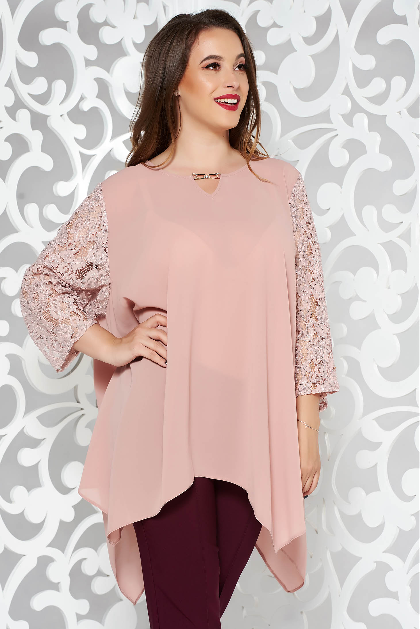 Rosa elegant asymmetrical flared women`s blouse voile fabric with laced sleeves