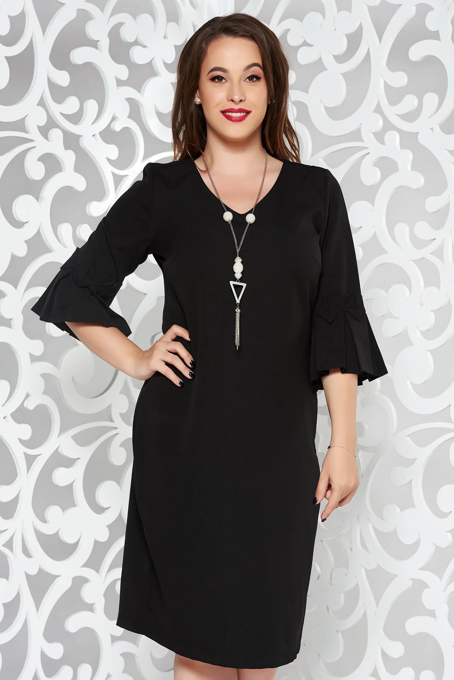 Black dress elegant pencil slightly elastic fabric midi accesorised with necklace