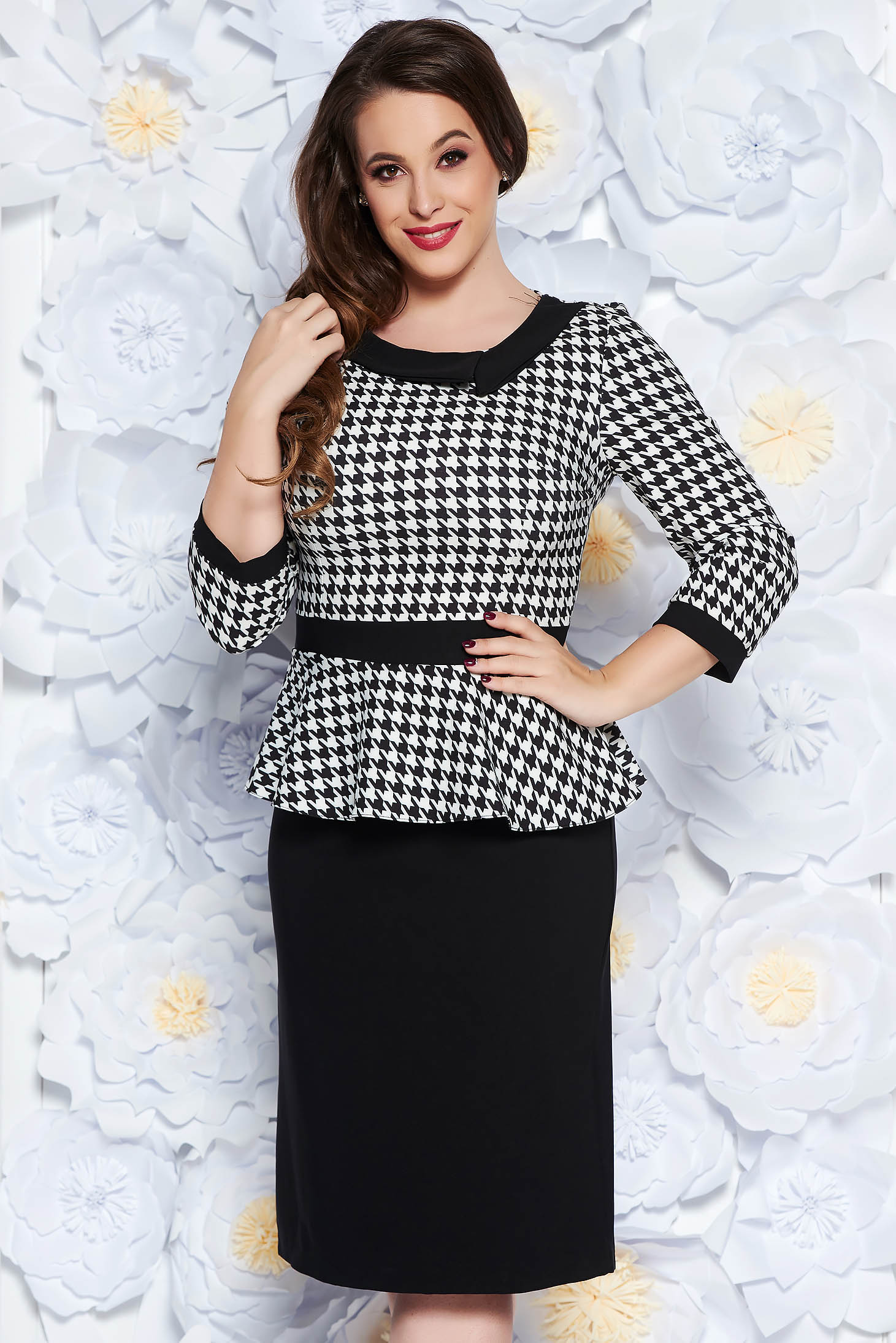 Black elegant pencil dress frilled 3/4 sleeve slightly elastic cotton