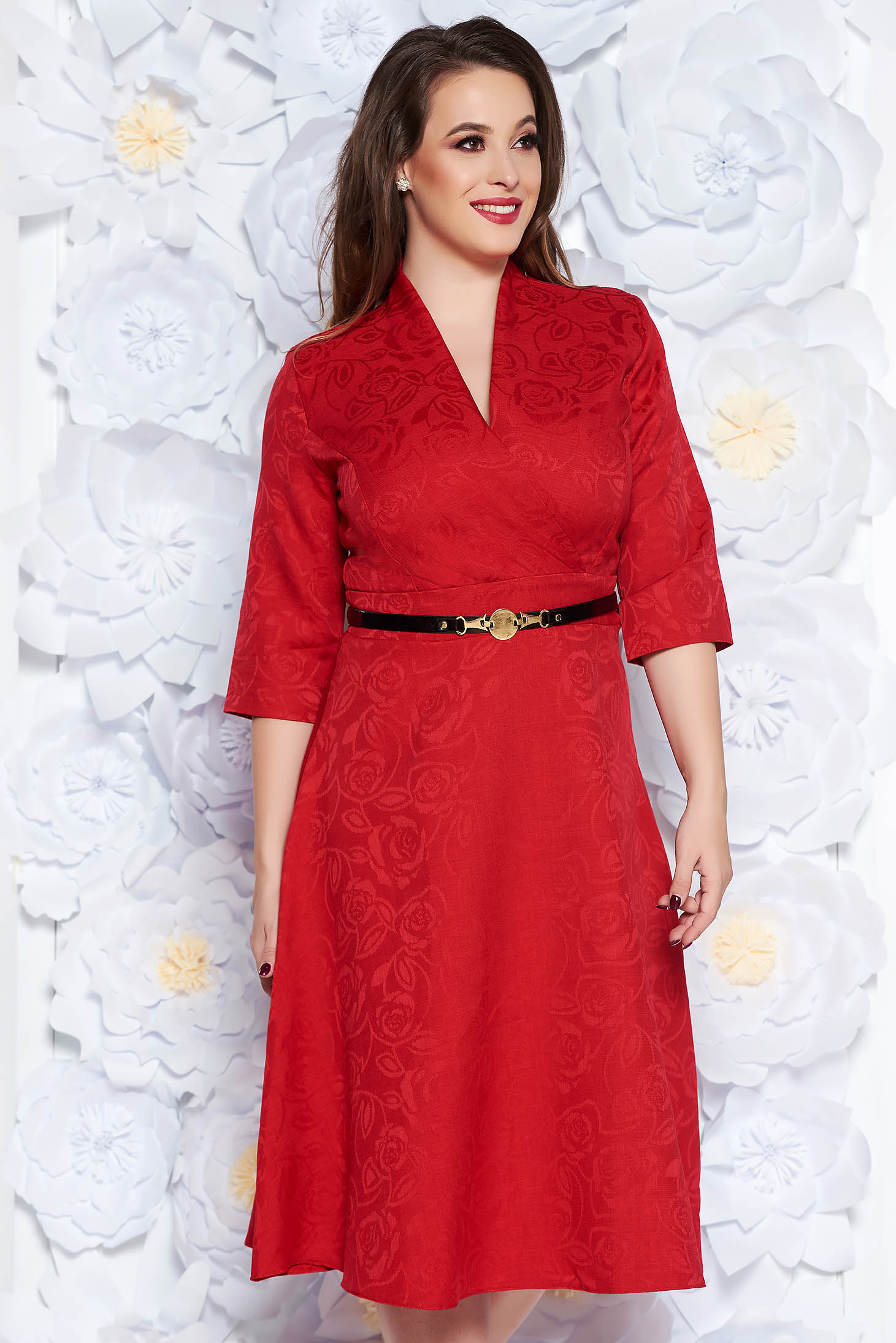 Red elegant cloche dress with v-neckline from non elastic fabric accessorized with belt