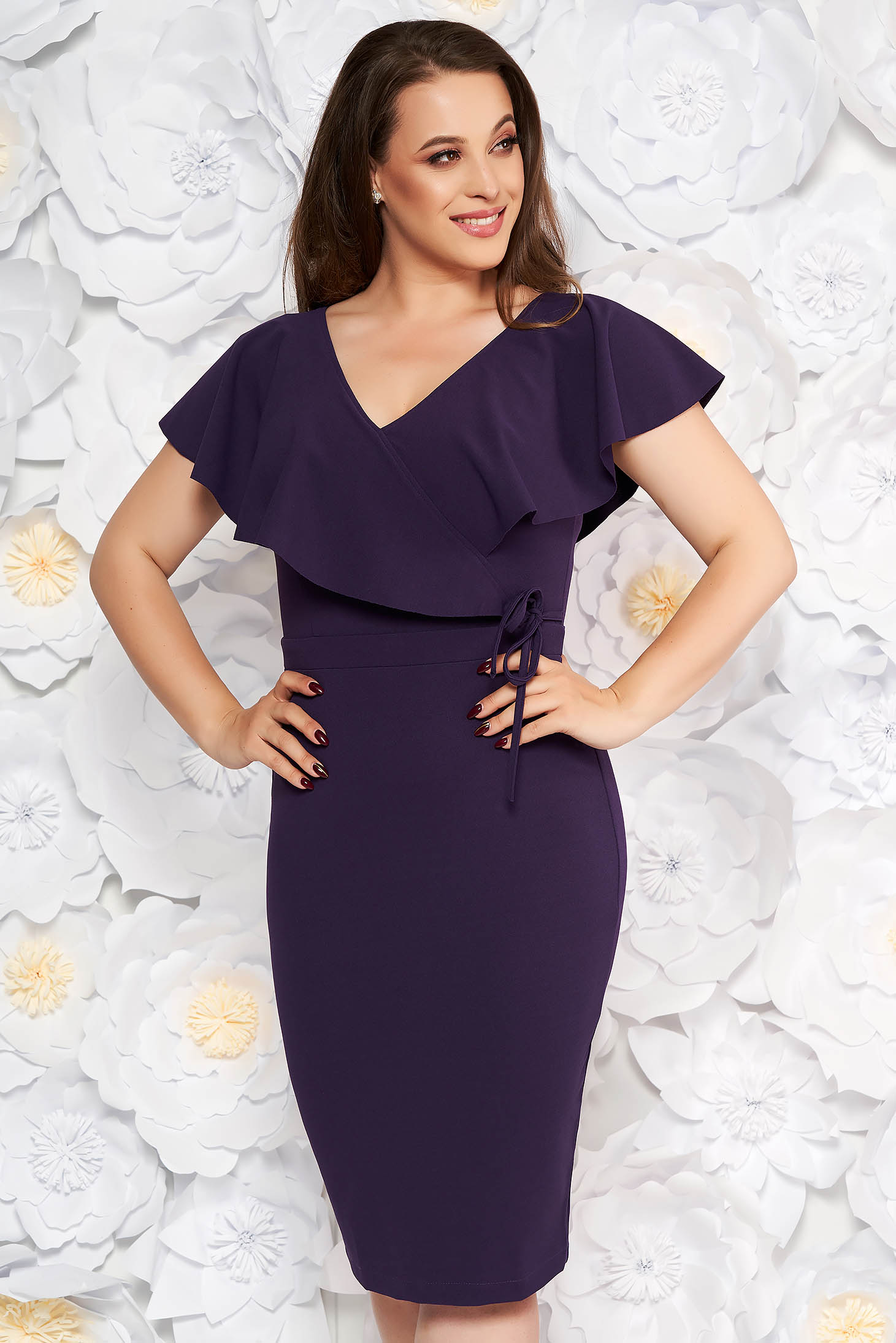 StarShinerS purple elegant pencil dress from elastic fabric with v-neckline