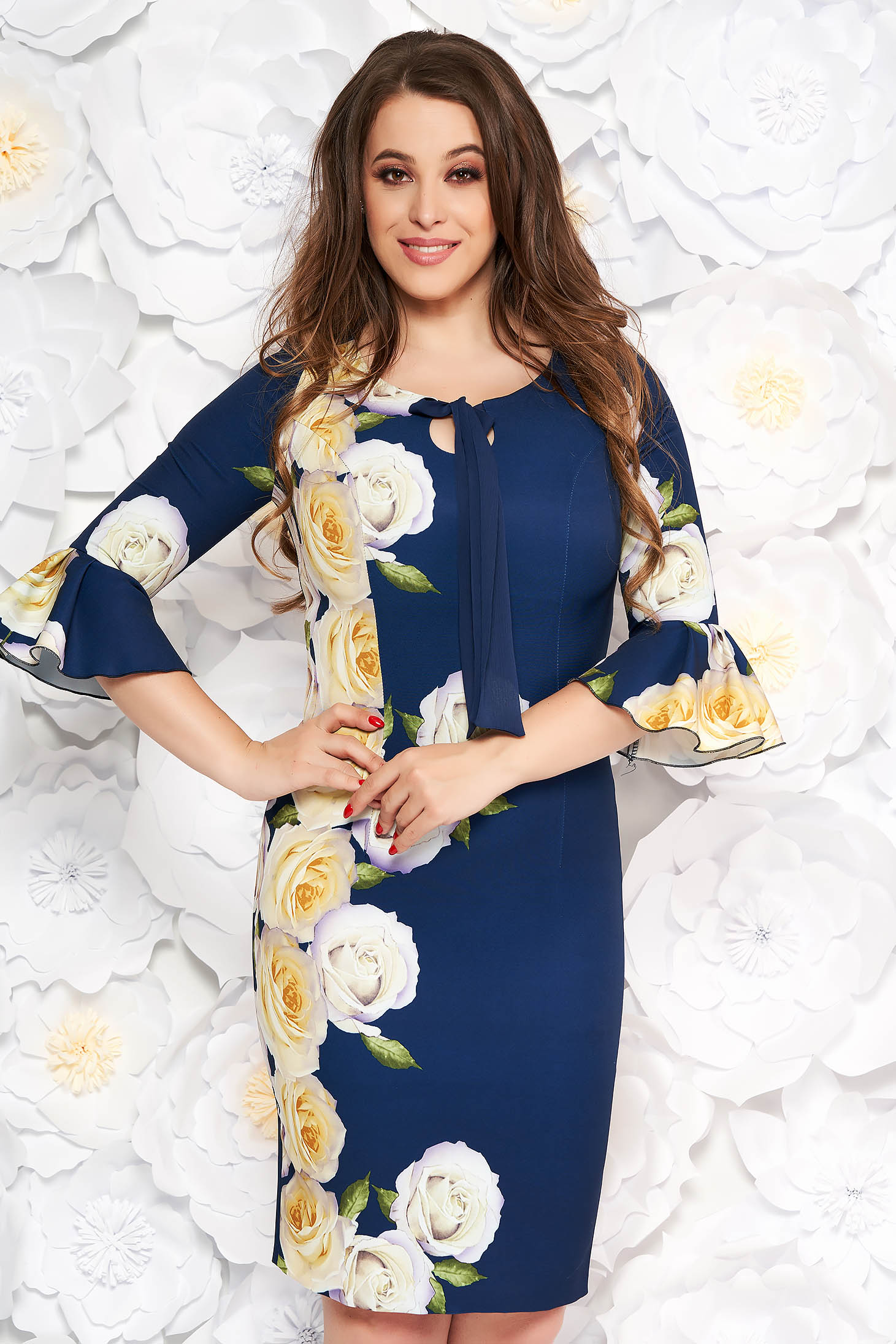 Darkblue elegant midi pencil dress slightly elastic fabric with inside lining with floral prints