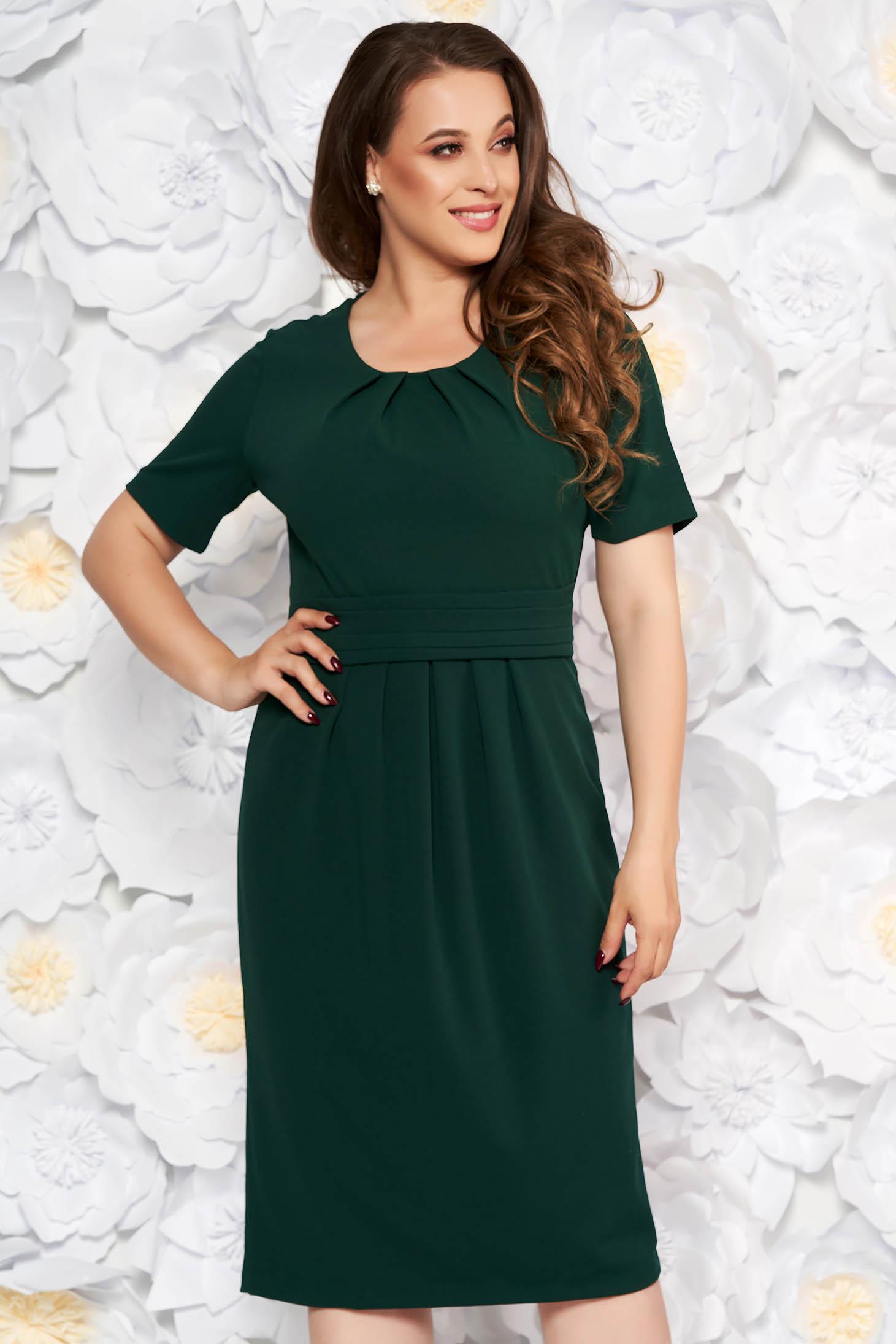 StarShinerS darkgreen office midi pencil dress slightly elastic fabric with inside lining short sleeves