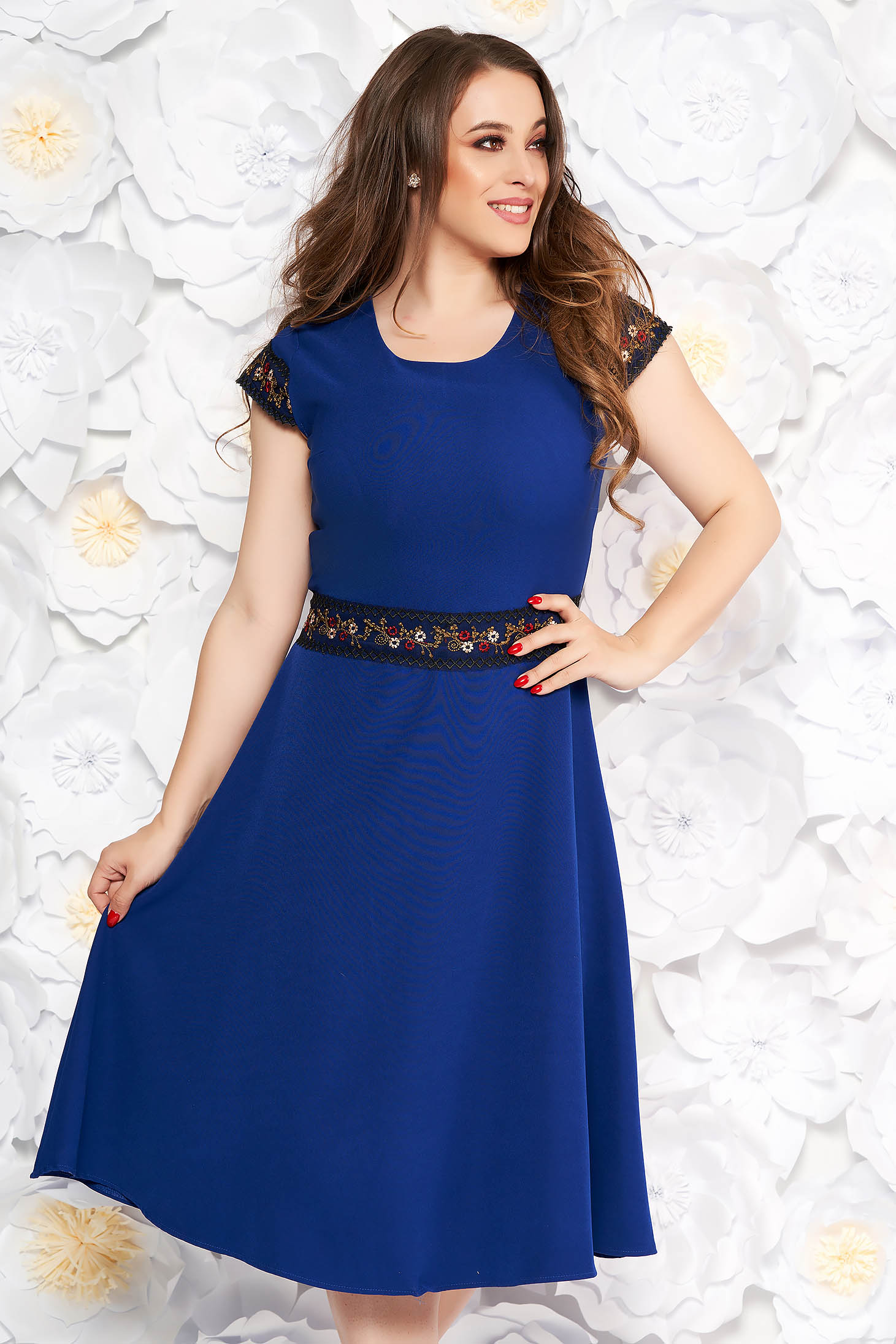 Blue elegant midi cloche dress slightly elastic fabric with embroidery details