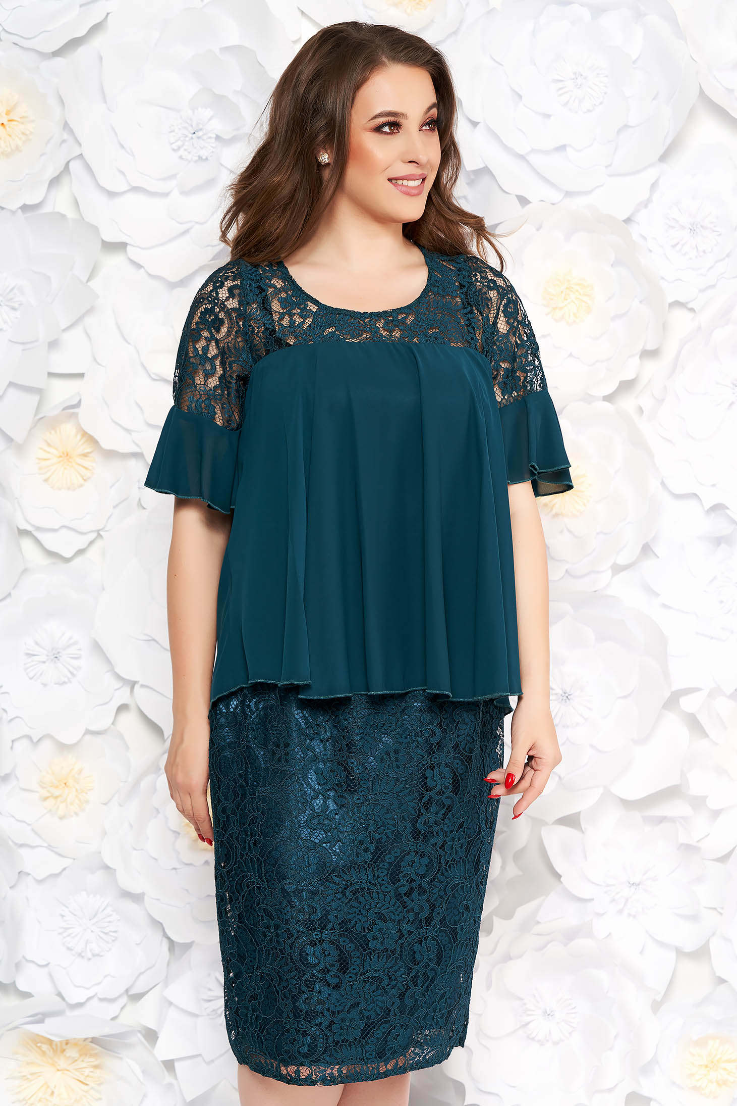 Darkgreen occasional midi pencil dress laced from veil fabric with inside lining with ruffled sleeves