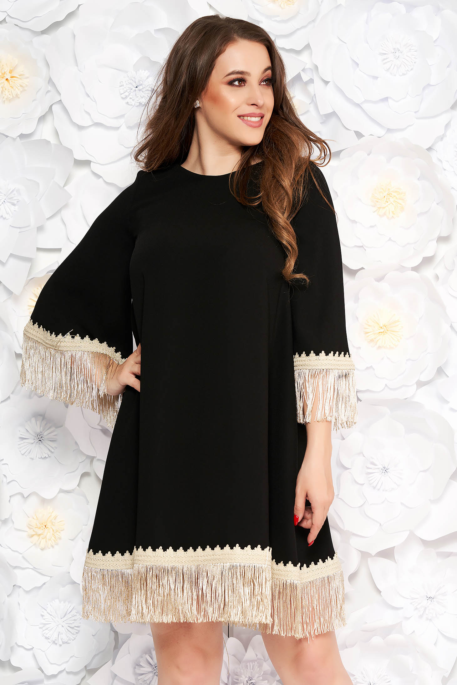 LaDonna black elegant flared dress from non elastic fabric with fringes 3/4 sleeve