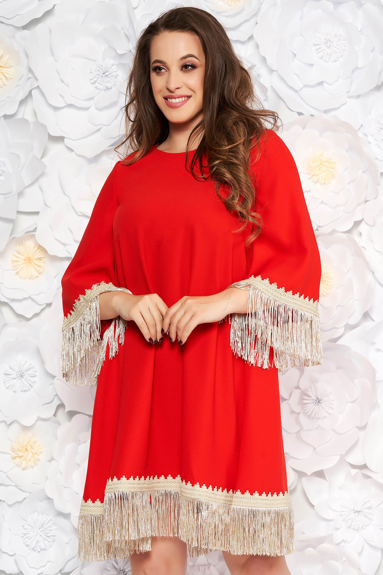 LaDonna red elegant flared dress from non elastic fabric with fringes 3/4 sleeve