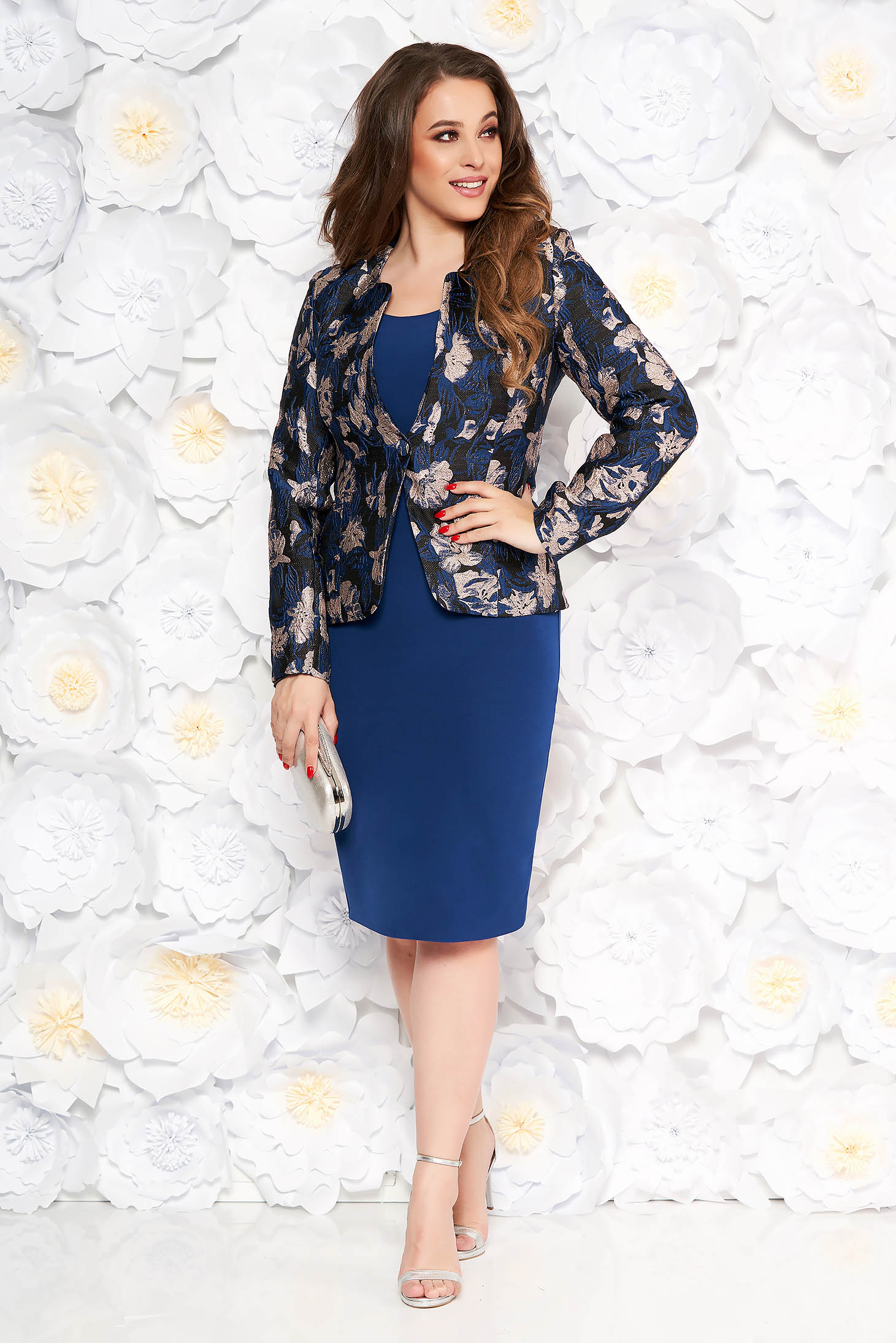 Blue lady set elegant with tented cut from jacquard arched cut
