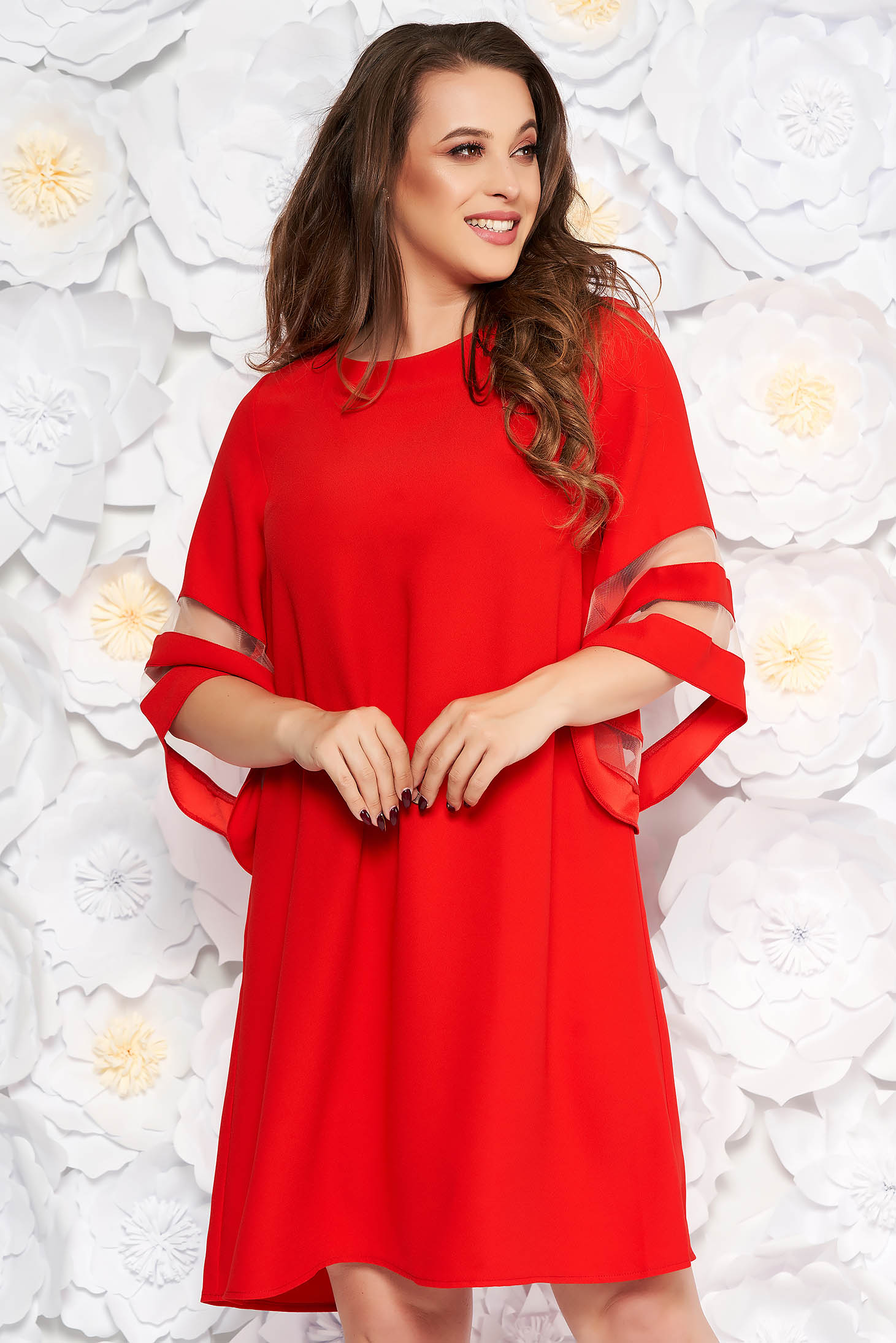 Red dress elegant flared from non elastic fabric large sleeves