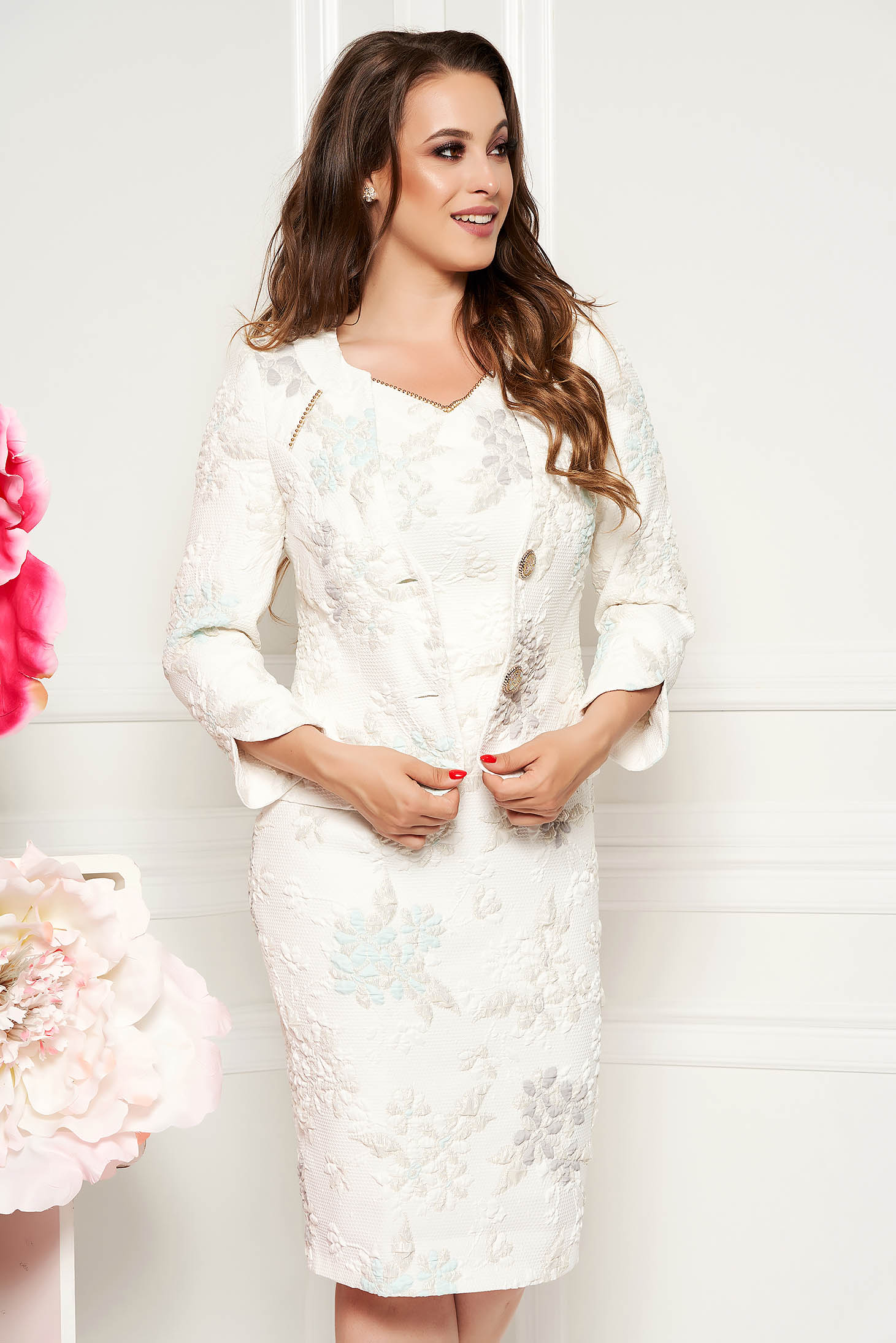 White elegant lady set from 2 pieces from jacquard with lame thread