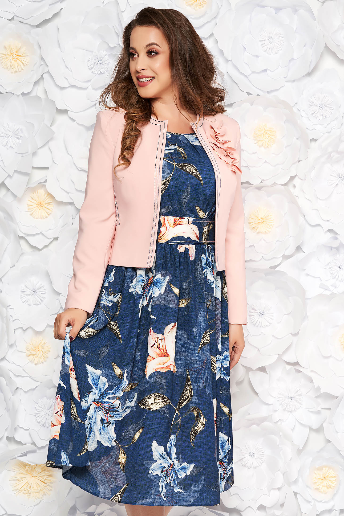 LaDonna darkblue elegant lady set from 2 pieces with floral print
