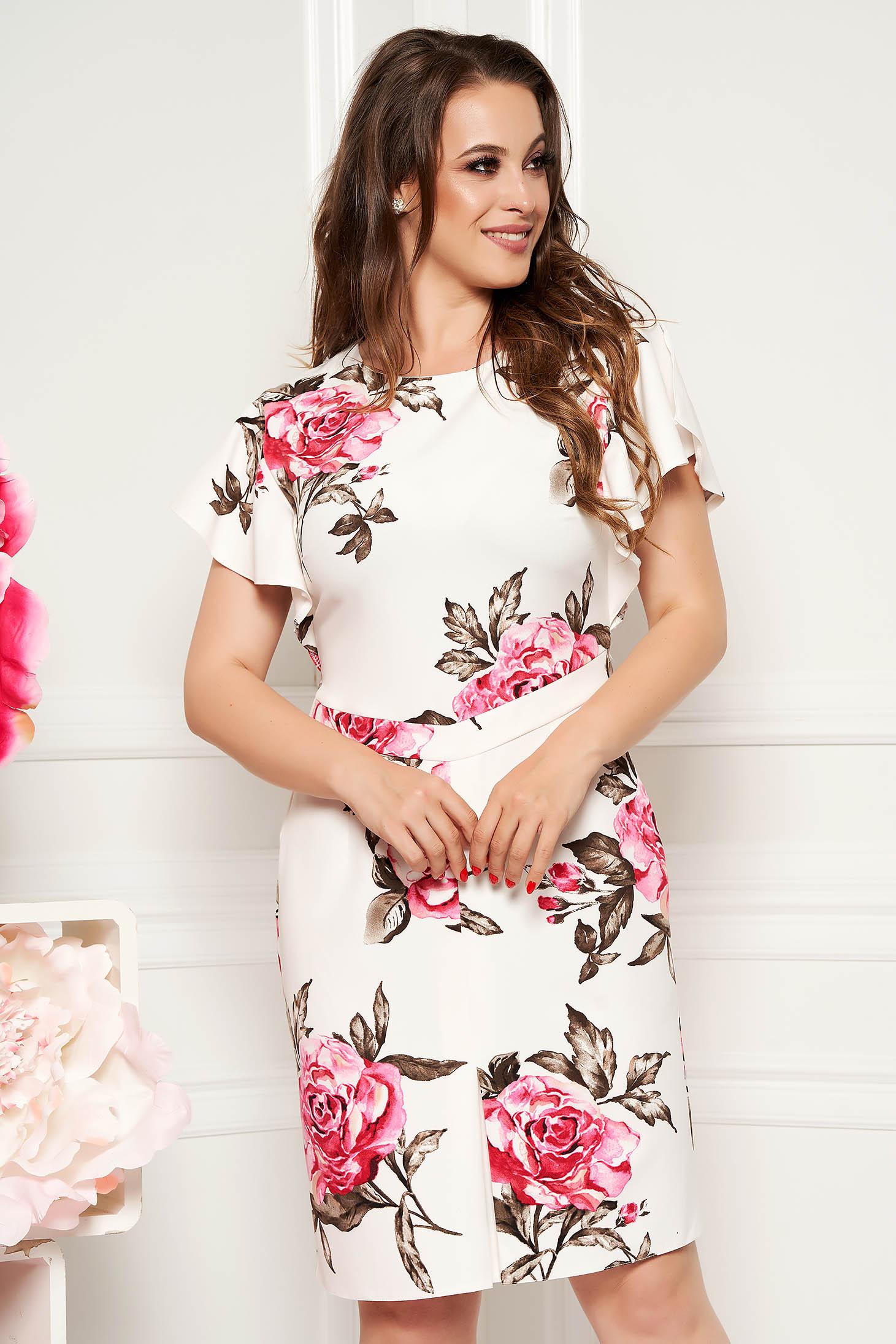 Rochie alba eleganta midi tip creion cu maneca scurta din material fin la atingere cu imprimeuri florale