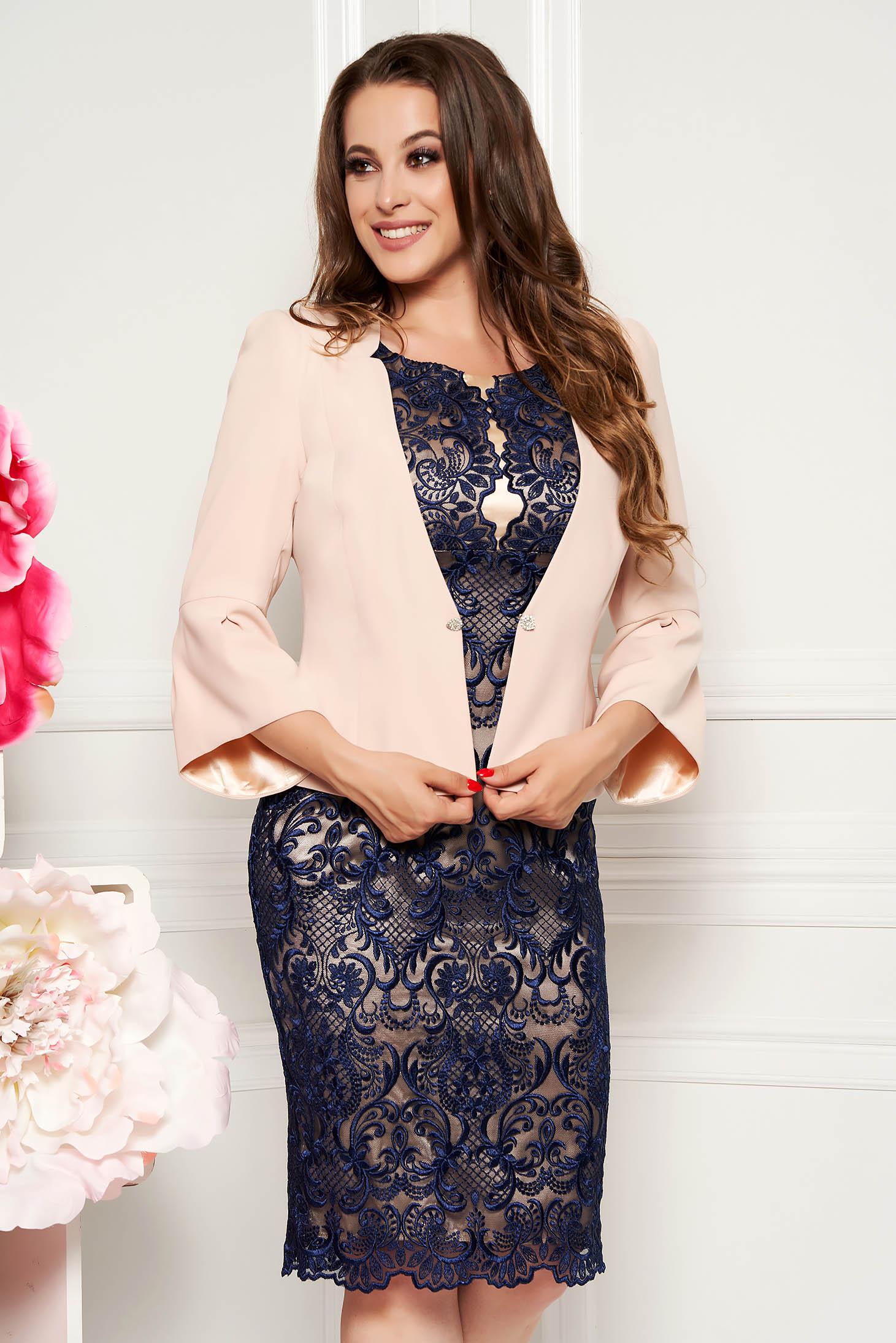 Compleu albastru-inchis elegant cu rochie din 2 piese din dantela
