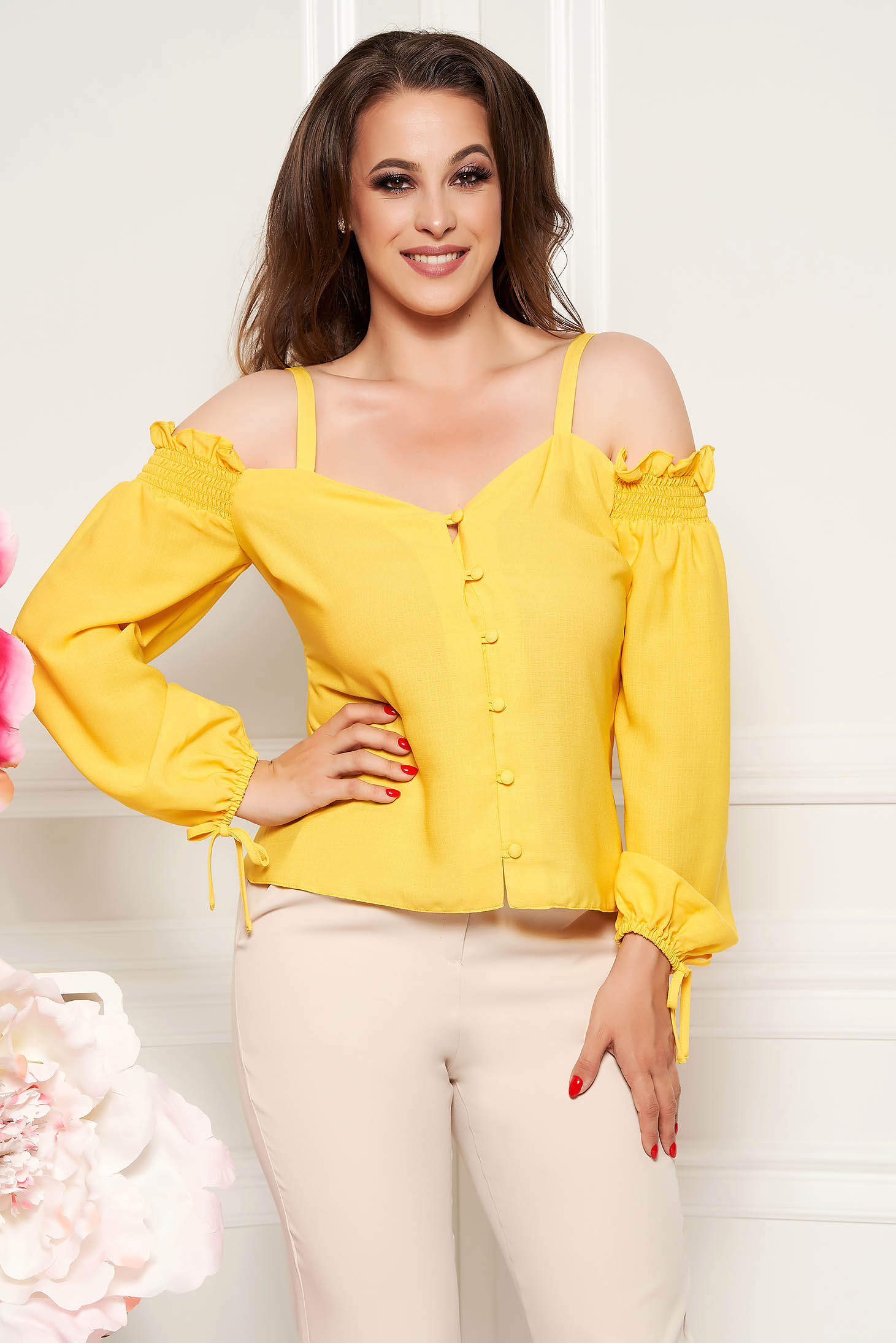 StarShinerS yellow women`s blouse with v-neckline long sleeved airy fabric