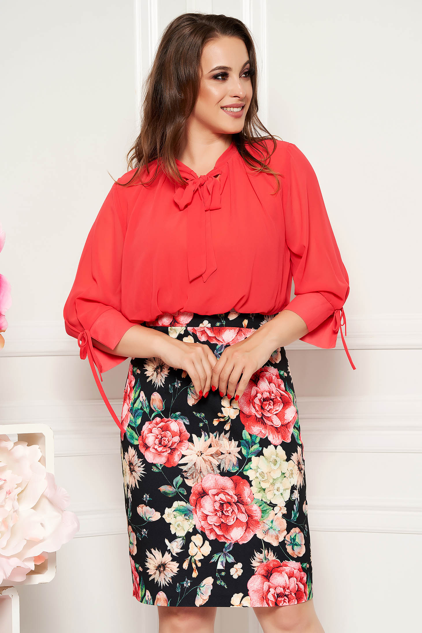 Coral elegant daily midi pencil dress with 3/4 sleeves with floral prints