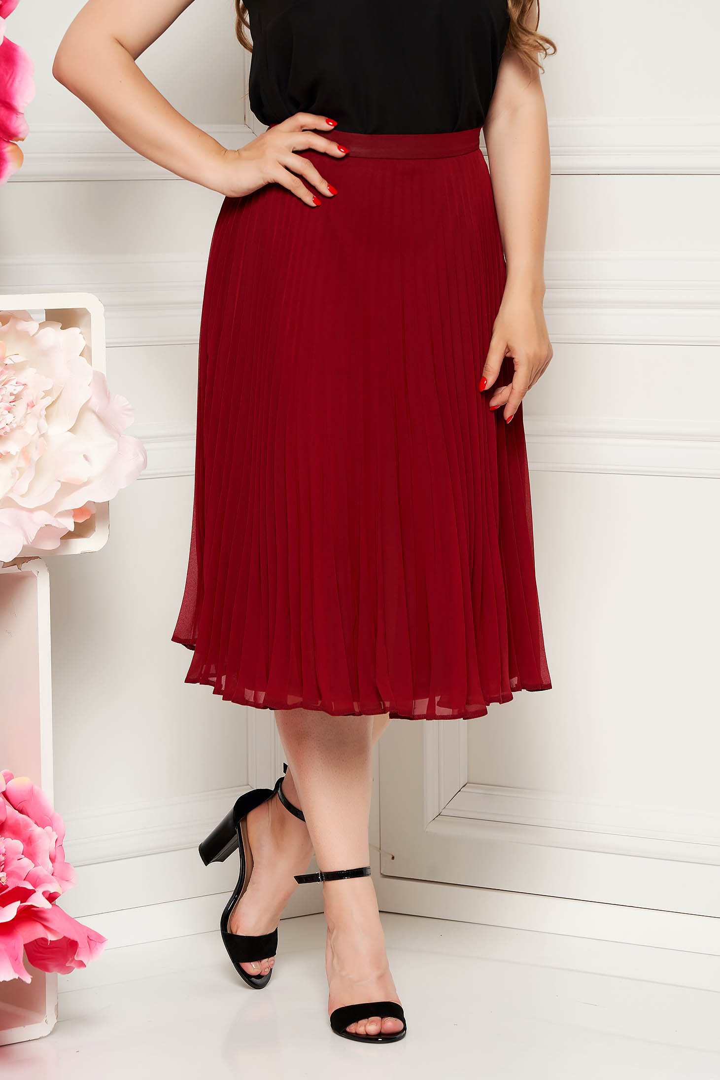 StarShinerS burgundy elegant cloche skirt voile fabric folded up high waisted