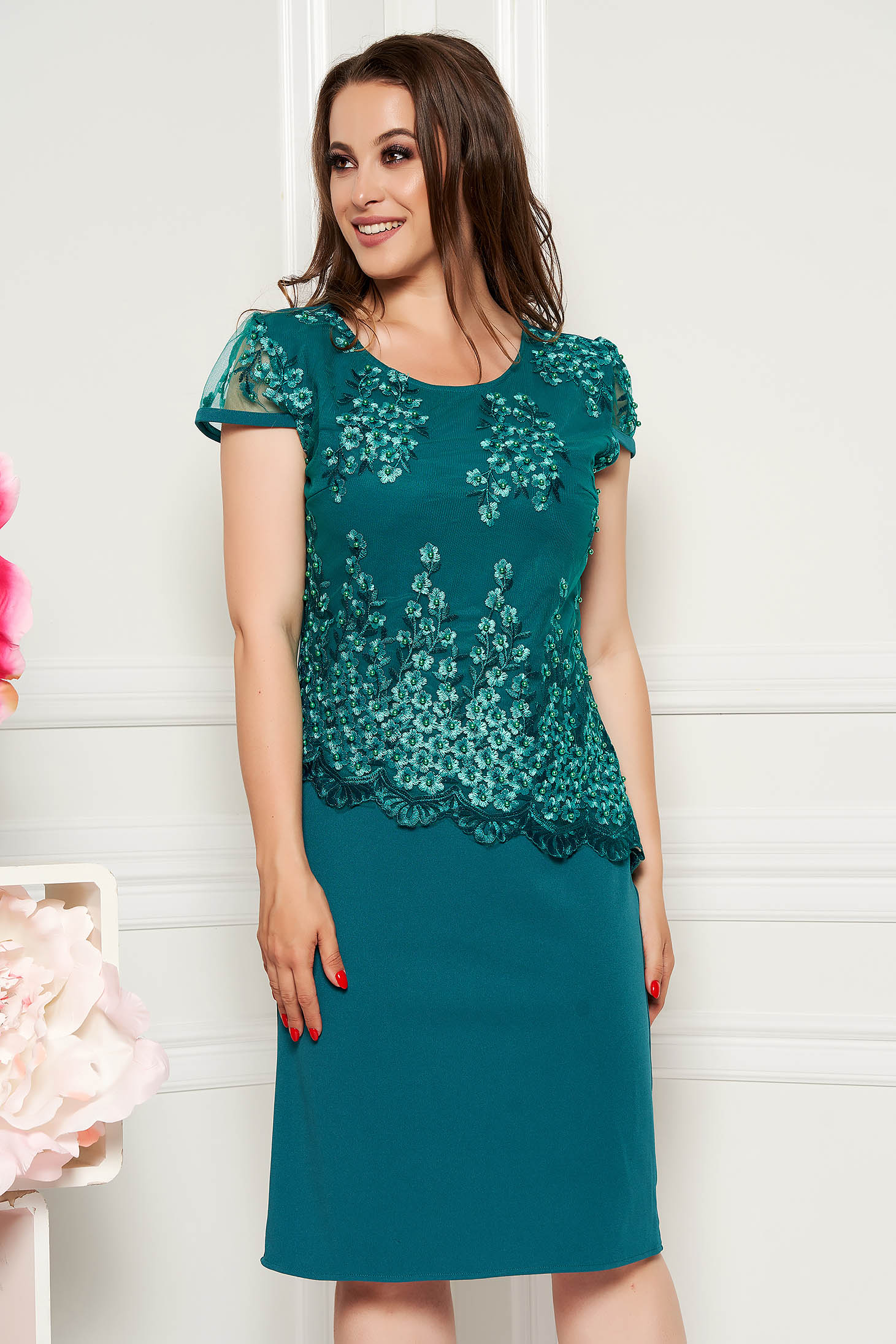 19cd43cffb0dd Dirty green elegant midi dress short sleeves thin fabric lace overlay ...