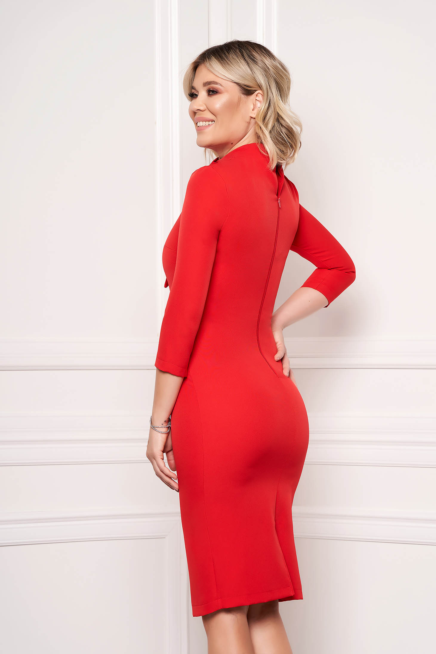 Rochie StarShinerS rosie eleganta office midi din stofa elastica