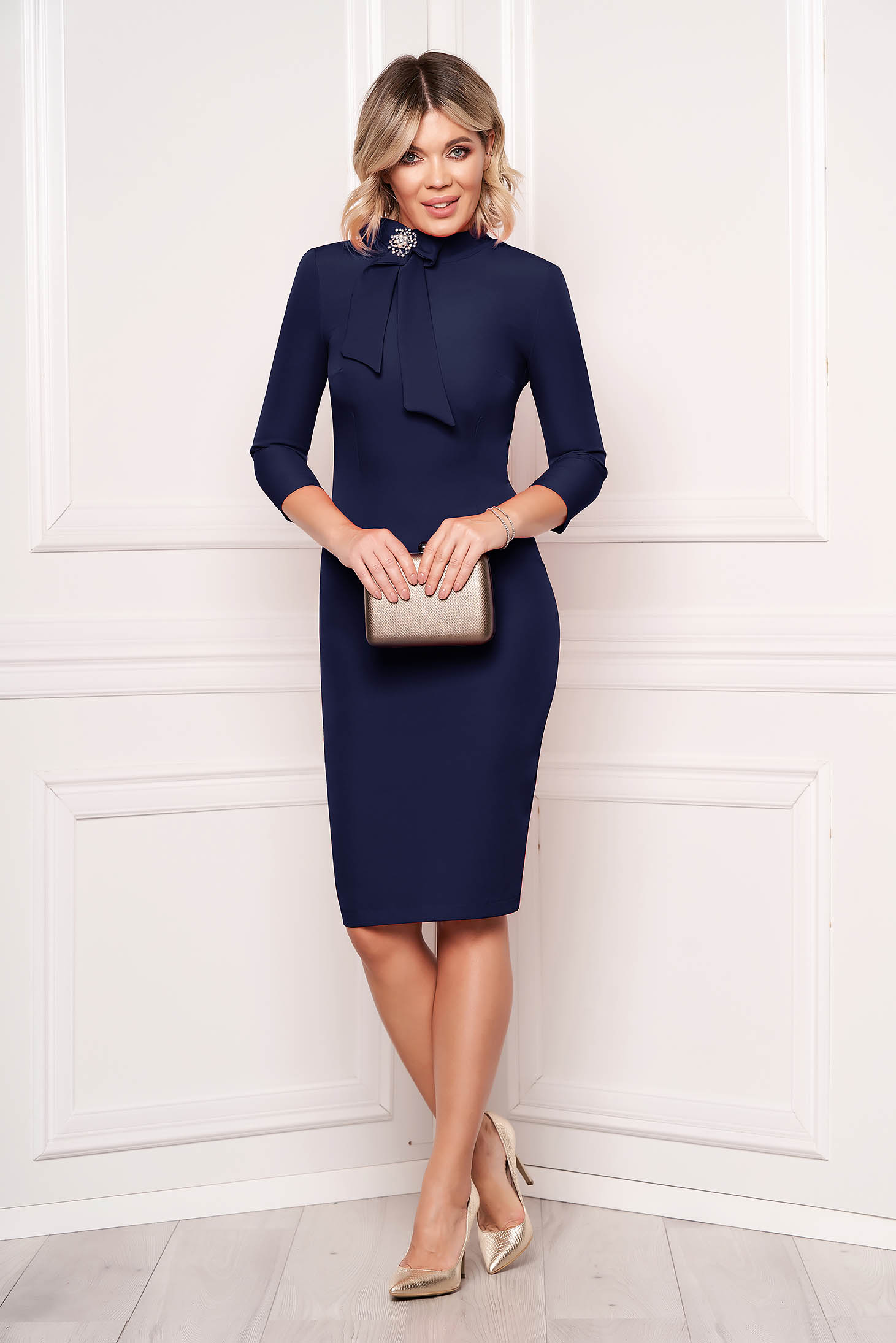 Rochie StarShinerS albastru-inchis eleganta office midi din stofa elastic