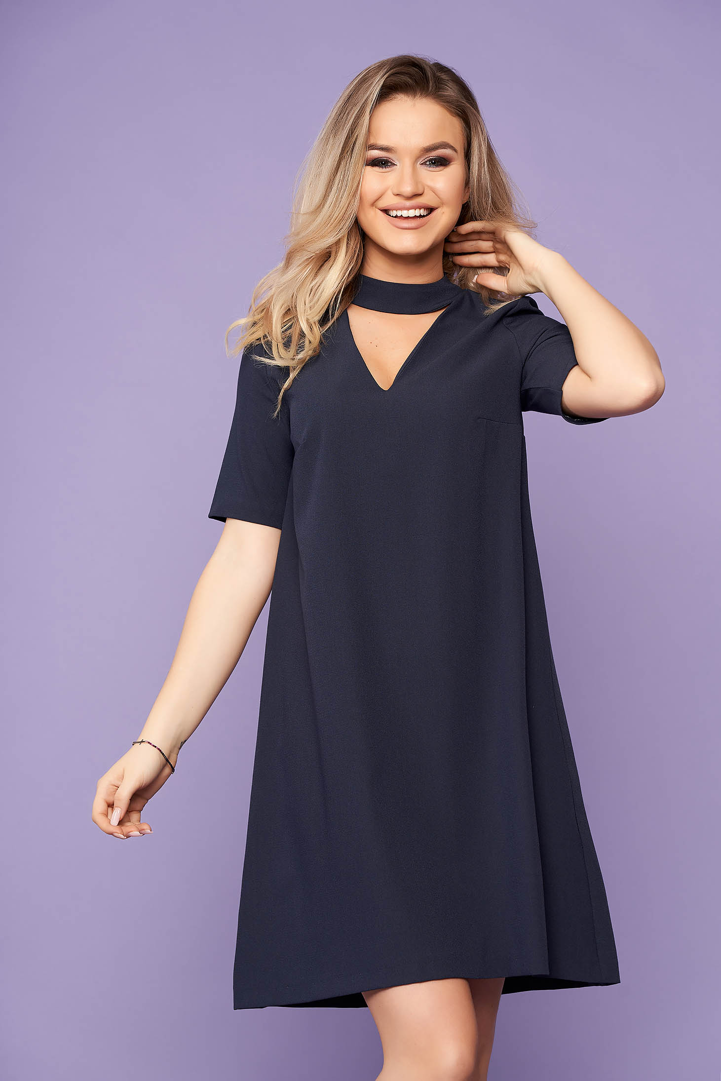 StarShinerS darkblue dress daily casual short cut flared short sleeves without clothing