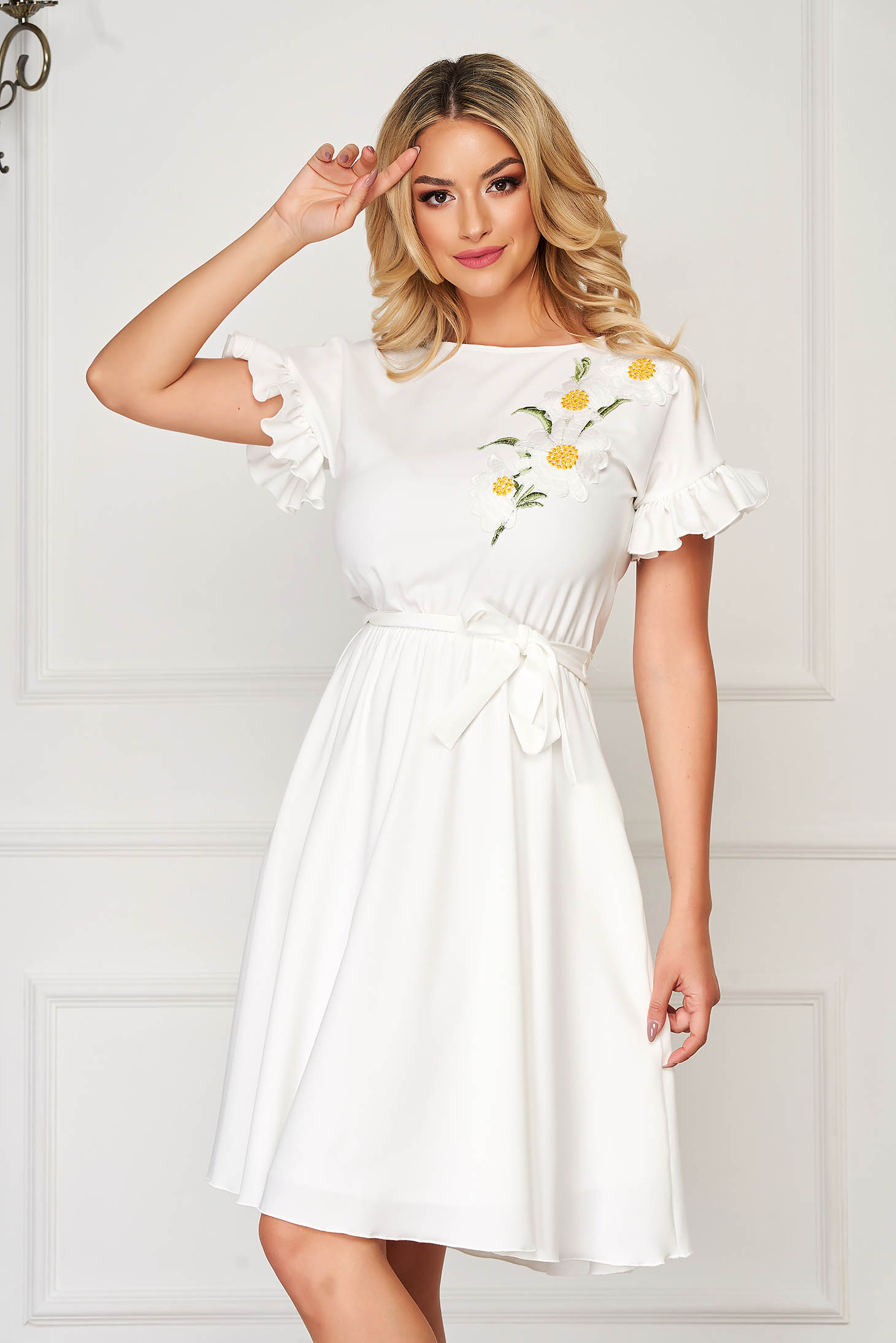Dress StarShinerS white elegant midi from elastic fabric with ruffled sleeves with floral details