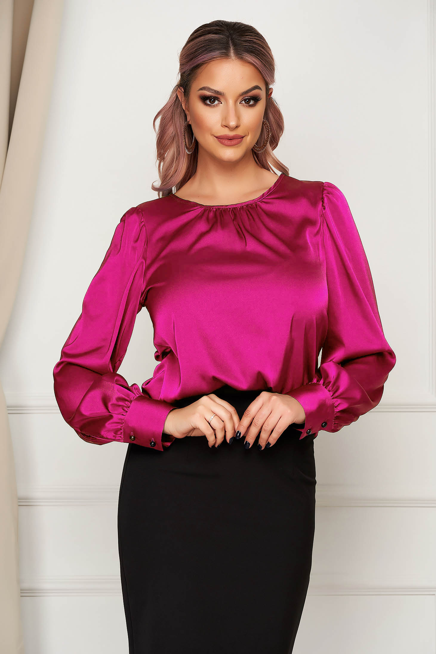 Fuchsia women`s blouse office loose fit from satin fabric texture