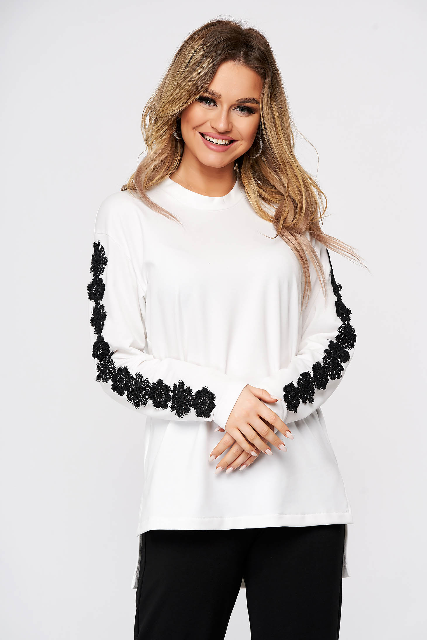 Flared sporty women`s blouse StarShinerS black with lace details