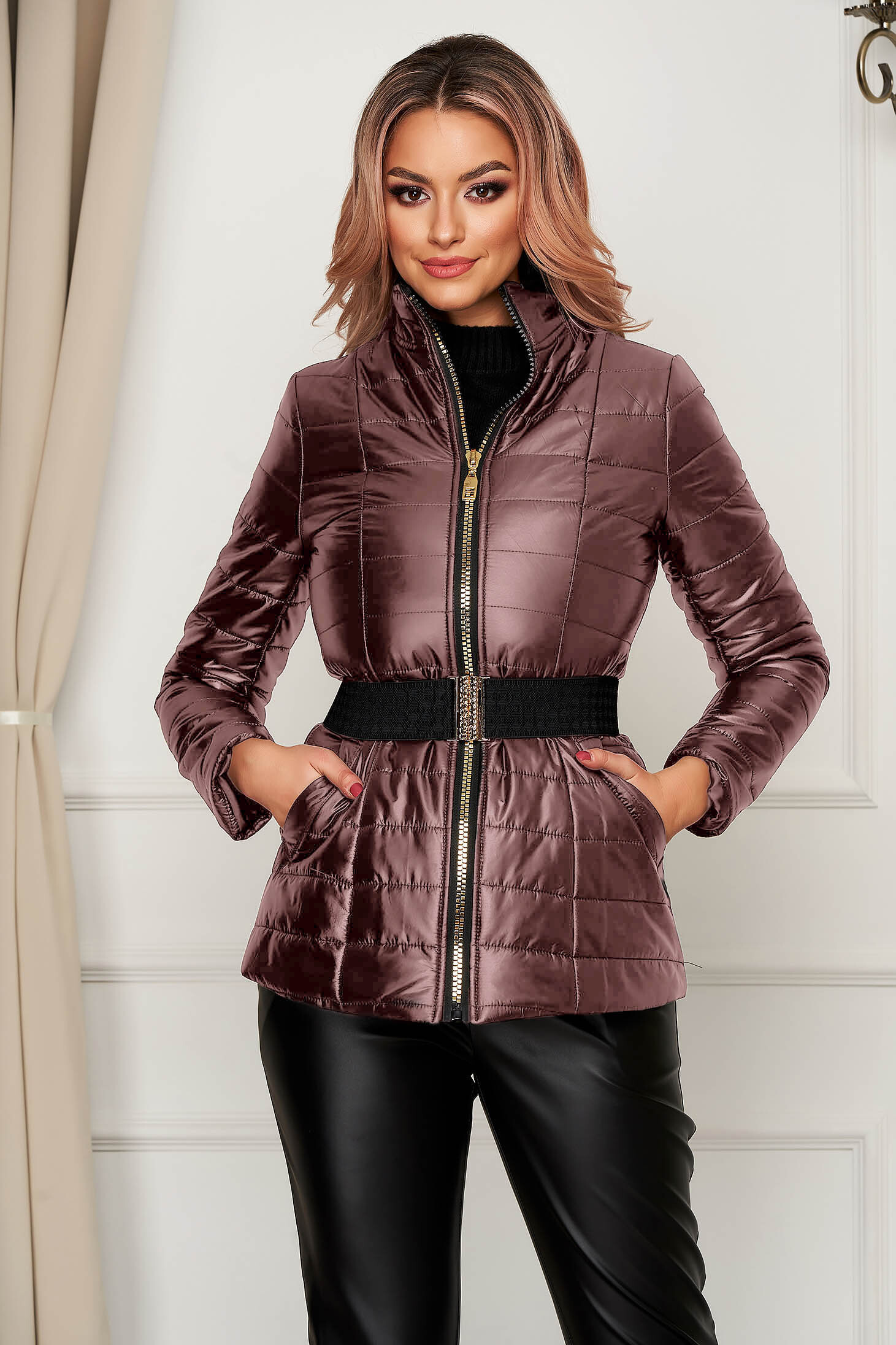 Purple jacket casual from slicker with turtle neck with pockets